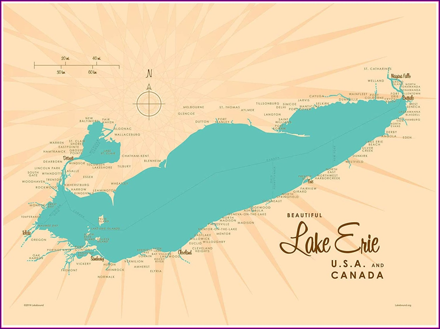 Map Lake Erie Surrounding States