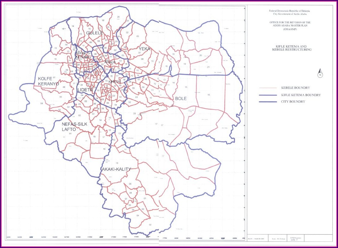 Map Of Addis Ababa Sub Cities