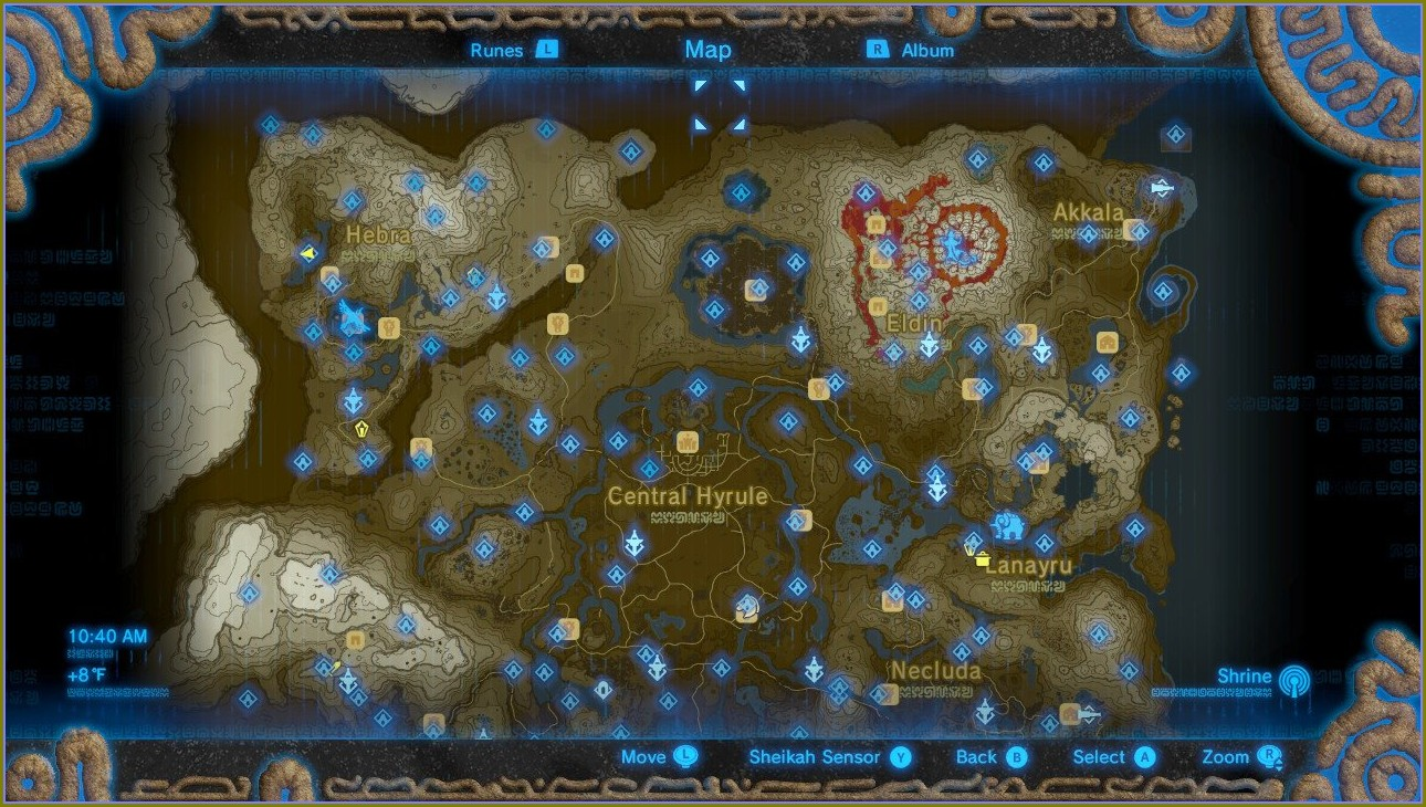 Map Of All The Shrines In Zelda Breath Of The Wild