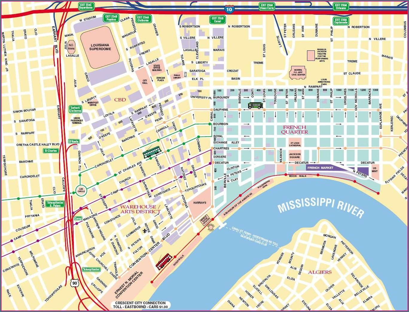Map Of Bourbon Street Hotels