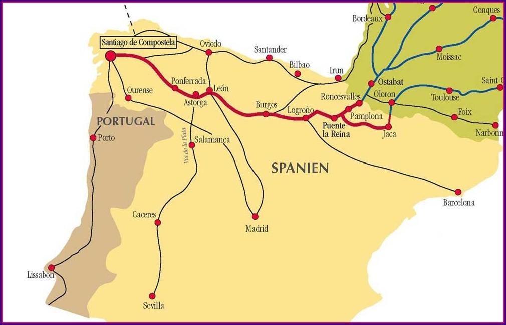 Map Of Camino De Santiago Routes