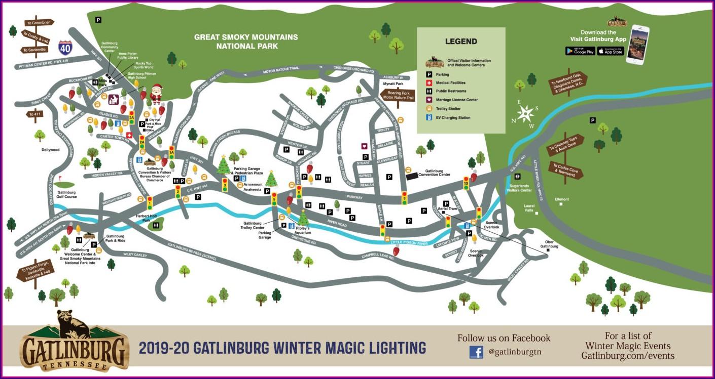 Map Of Downtown Gatlinburg Motels