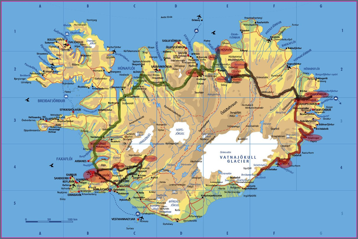 Map Of Hostels In Iceland