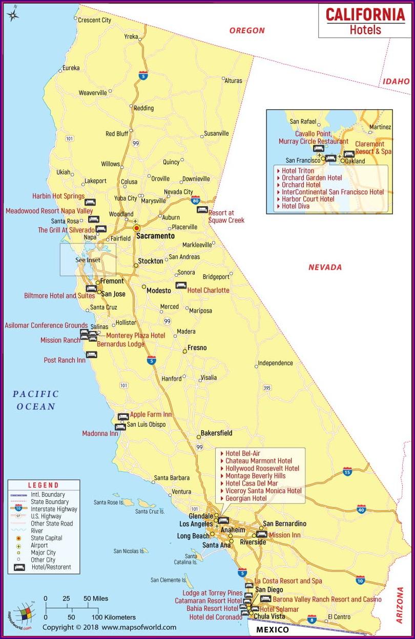 Map Of Hotels In Bakersfield Ca