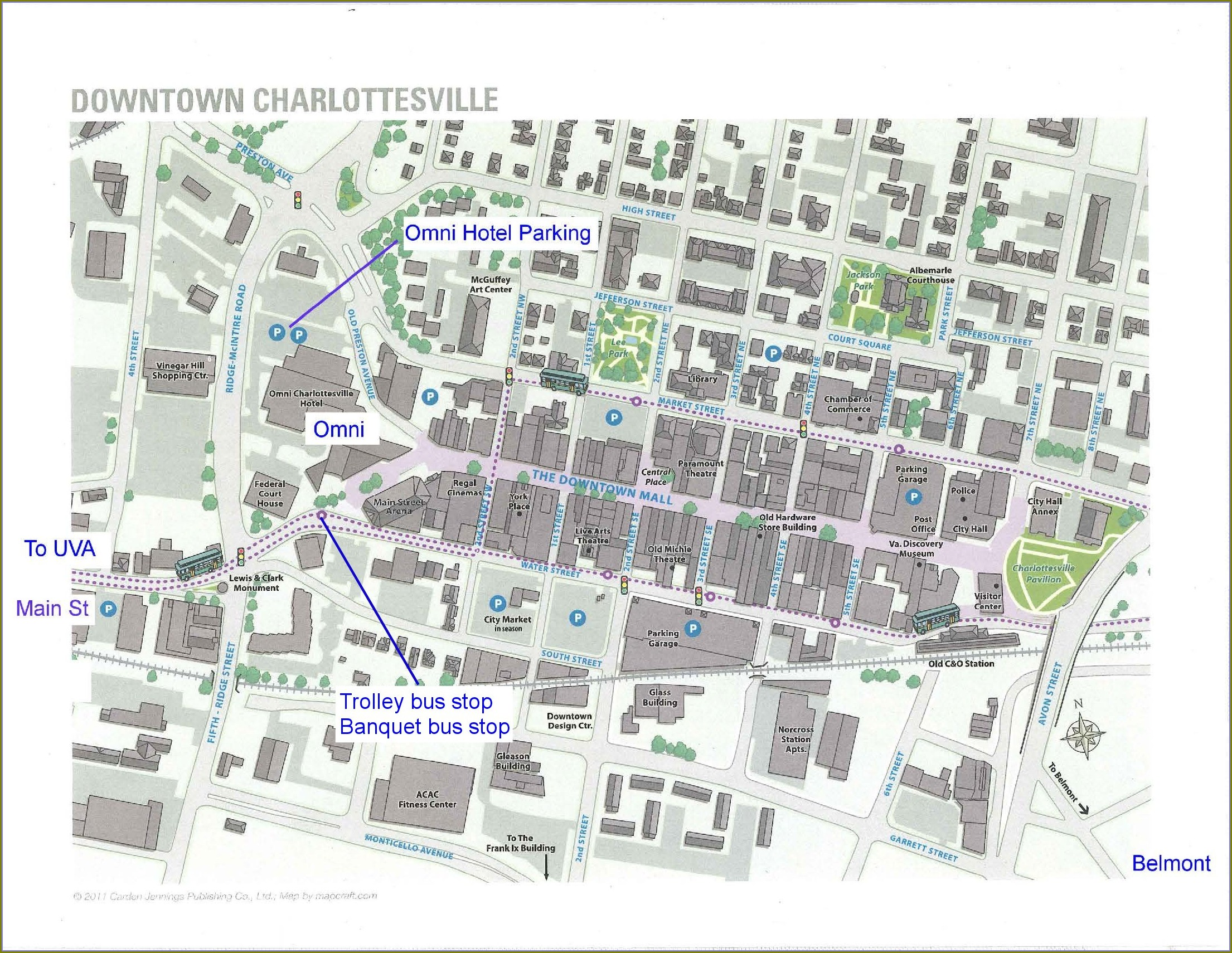 Map Of Hotels In Charlottesville Va