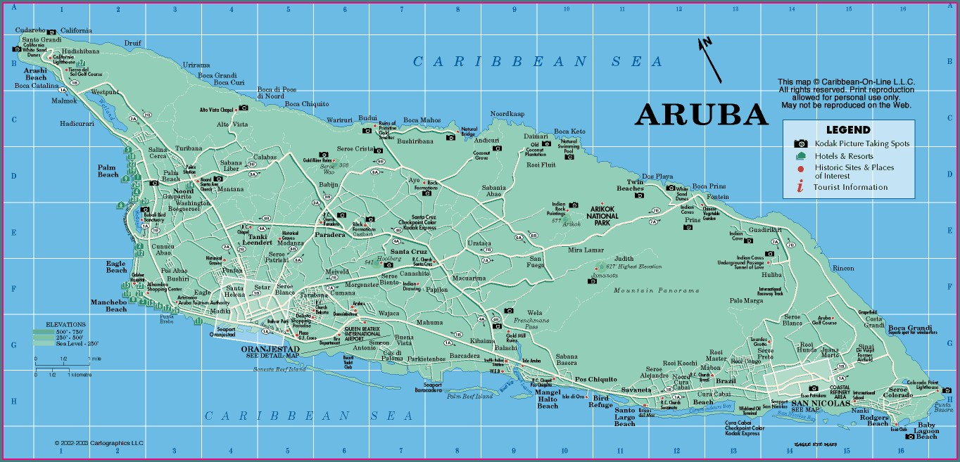 Map Of Hotels In Oranjestad Aruba