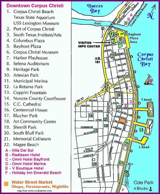Map Of Hotels On Corpus Christi Beach