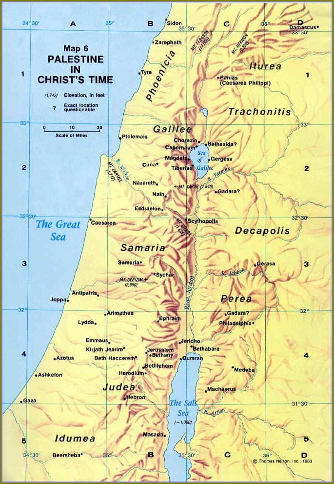 Map Of Judea In Jesus Day