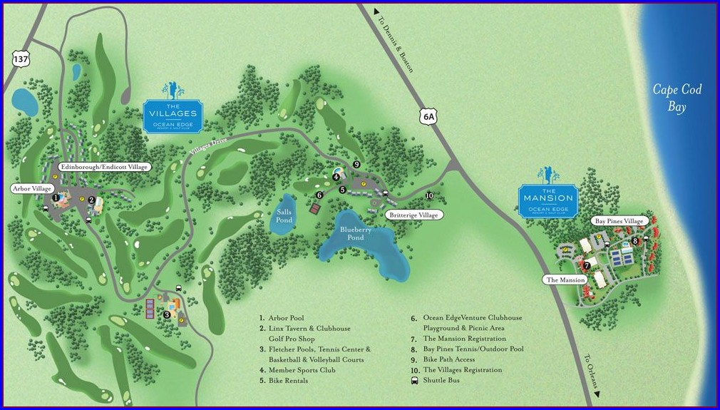 Map Of Ocean Edge Resort Brewster Ma