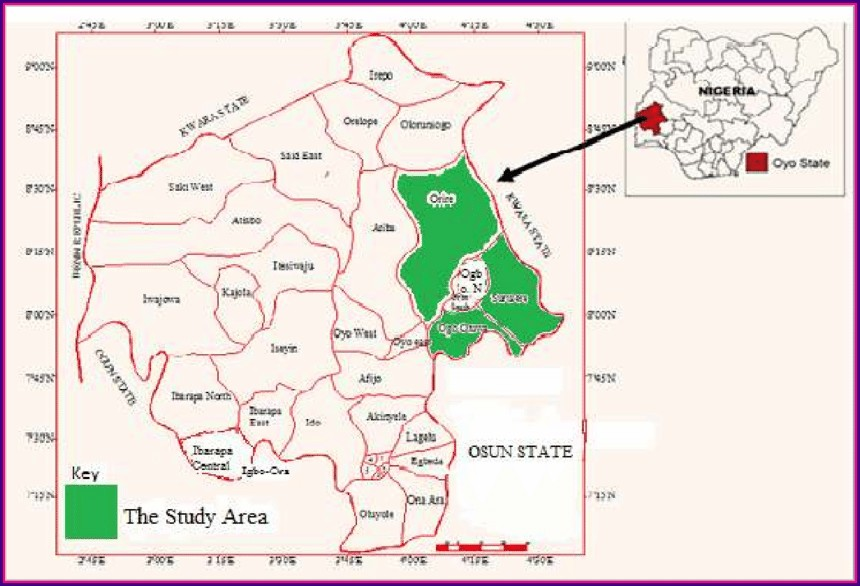 Map Of Oyo State Showing Towns