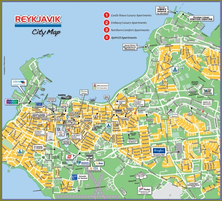Map Of Reykjavik Tourist Attractions