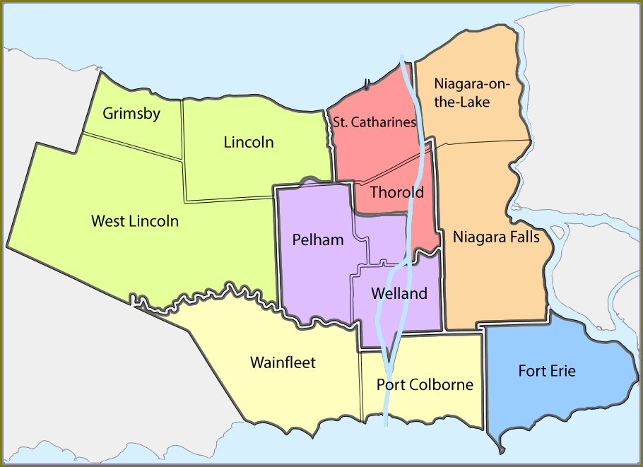 Map Of St Catharines And Surrounding Area