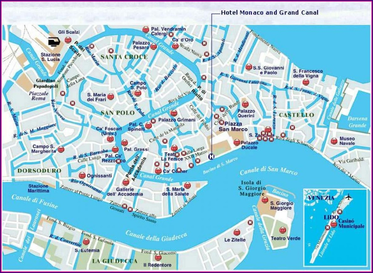 Map Of Venice Italy Canals