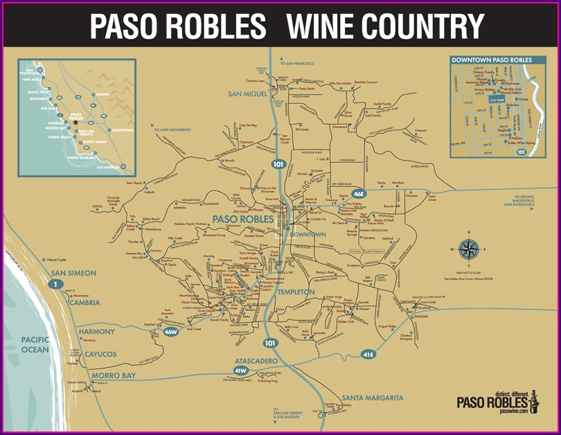 Map Of Wineries In Paso Robles Area