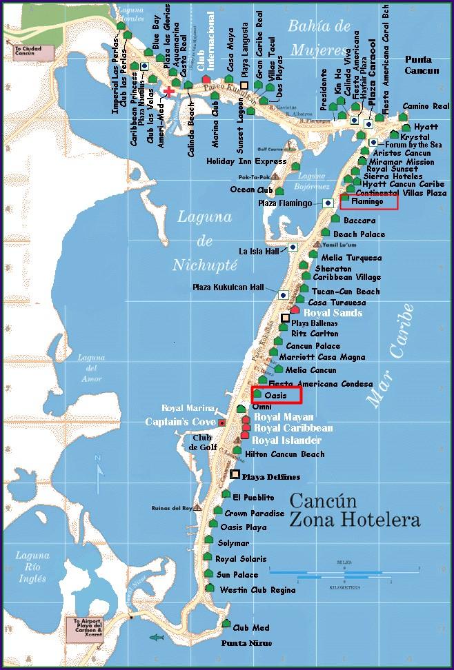 Mapa De Cancun Zona Hotelera Y Aeropuerto