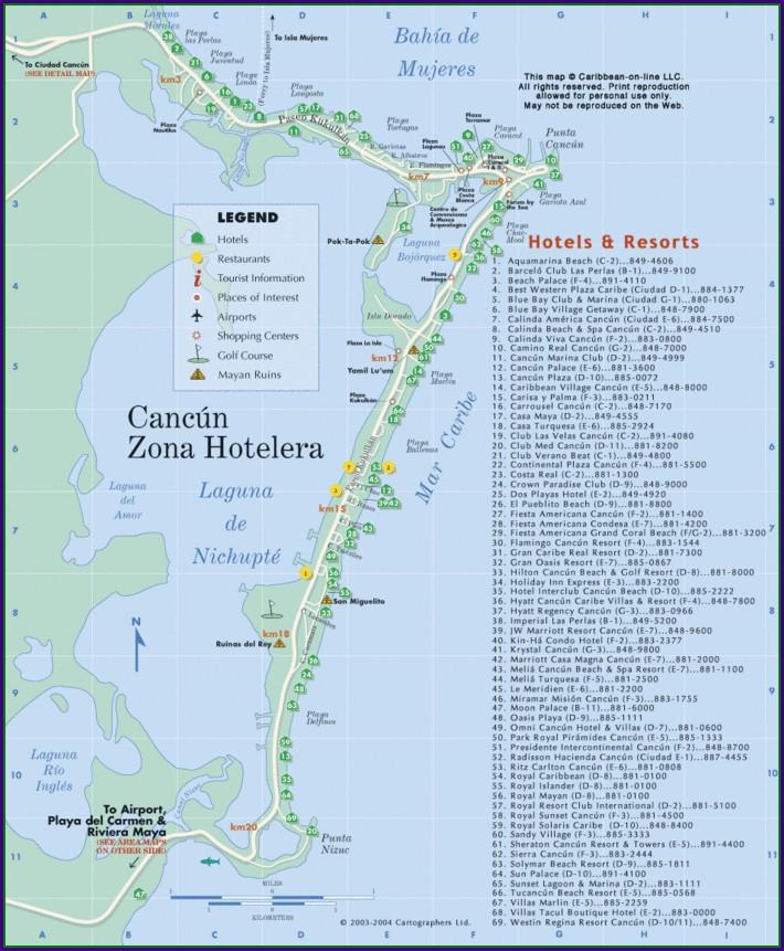 Mapa Hoteles Cancun Zona Hotelera