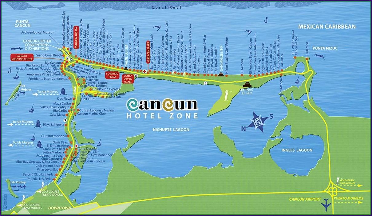 Mapa Zona Hotelera Cancun 2018