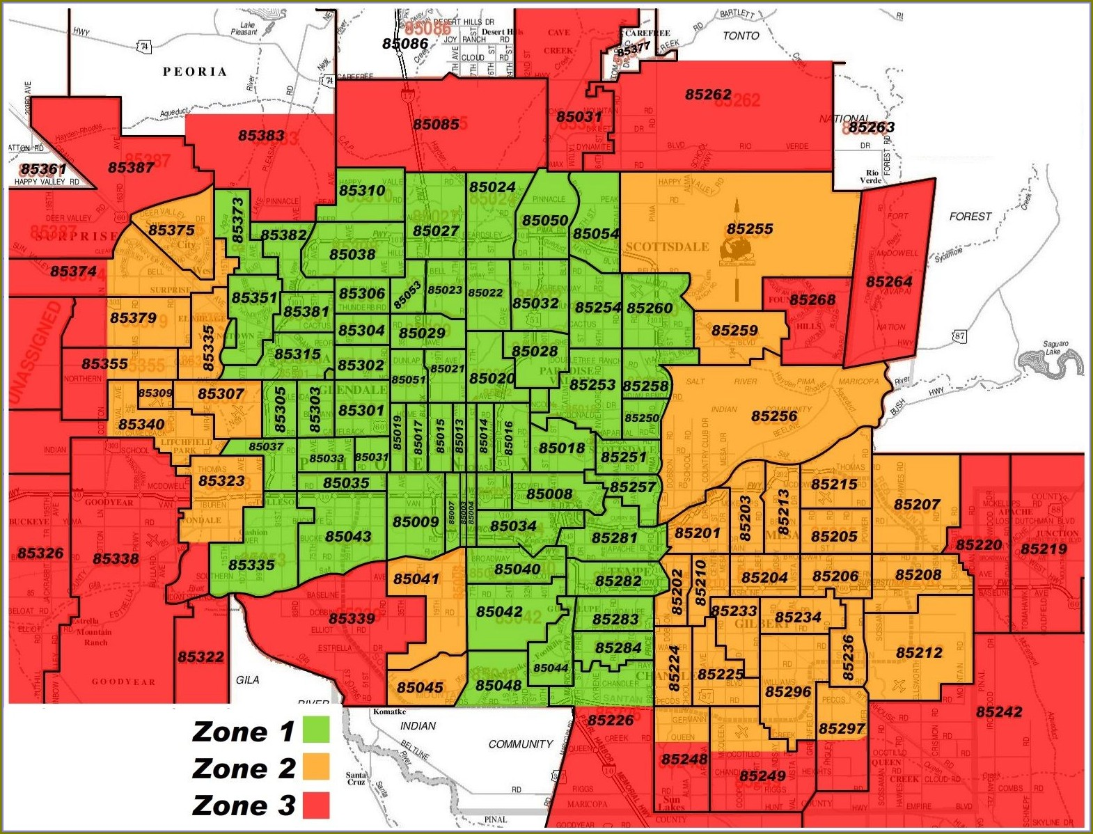 Maricopa County City Boundaries Map