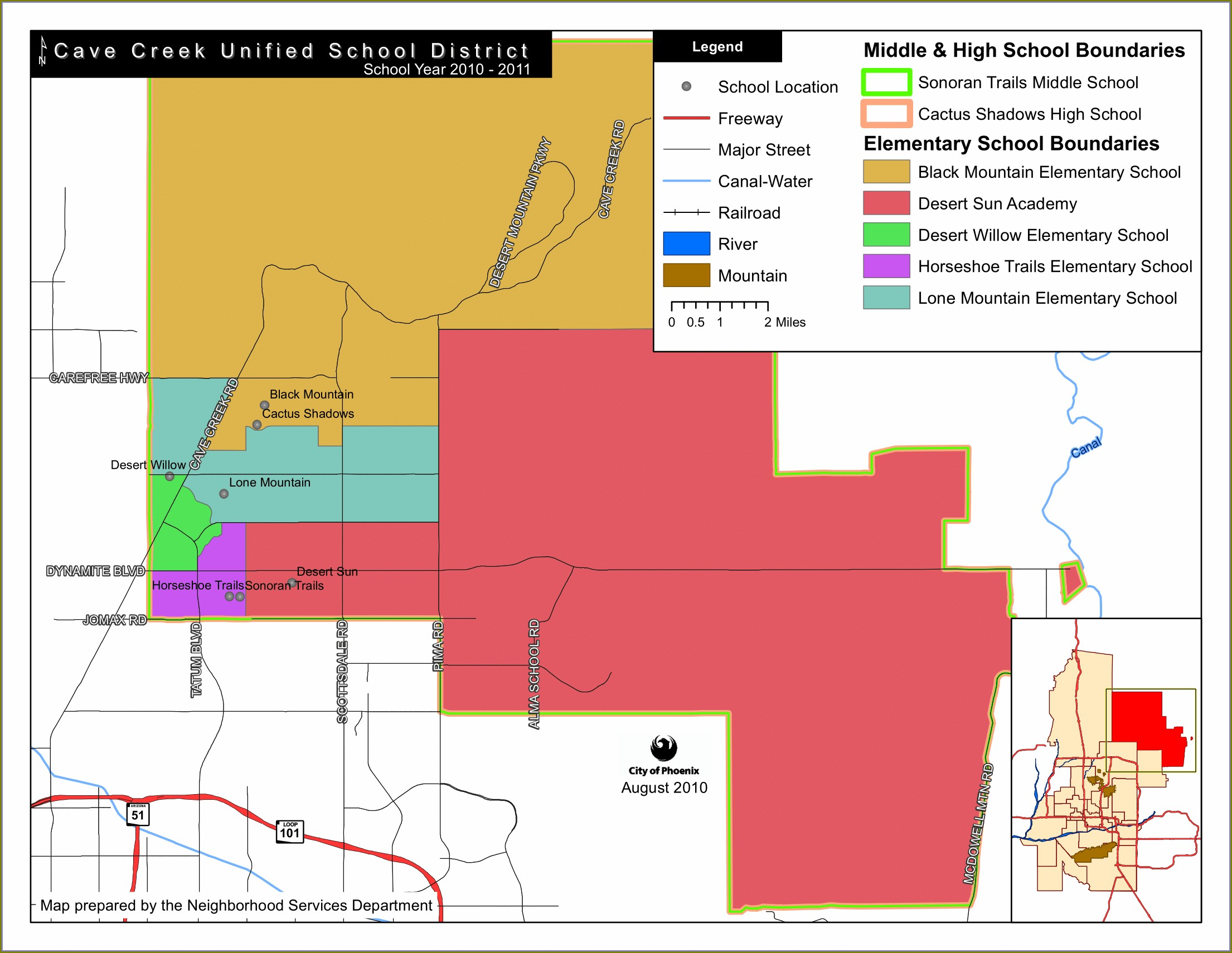 Maricopa County School District Boundaries Map