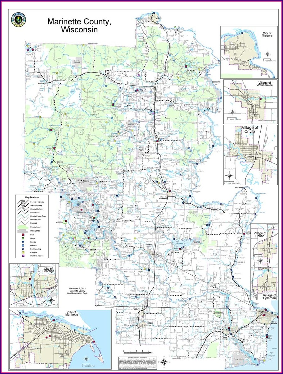 Marinette County Public Hunting Land Map