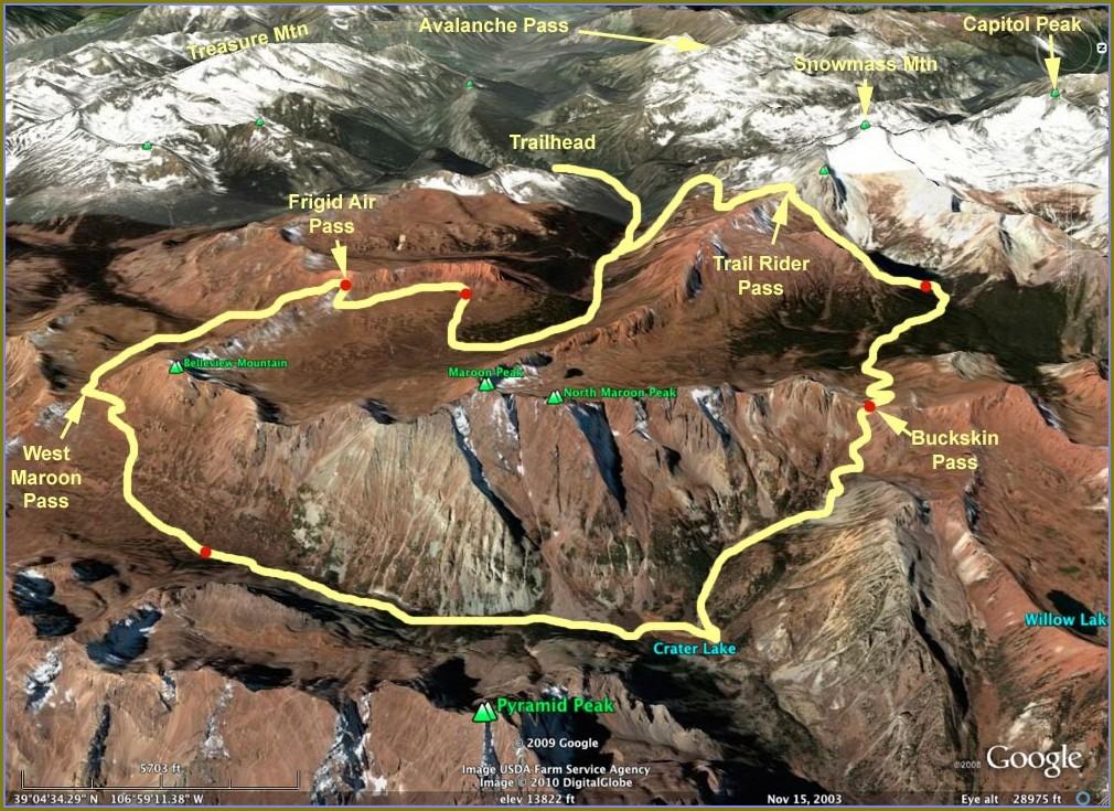 Maroon Bells 4 Pass Loop Map