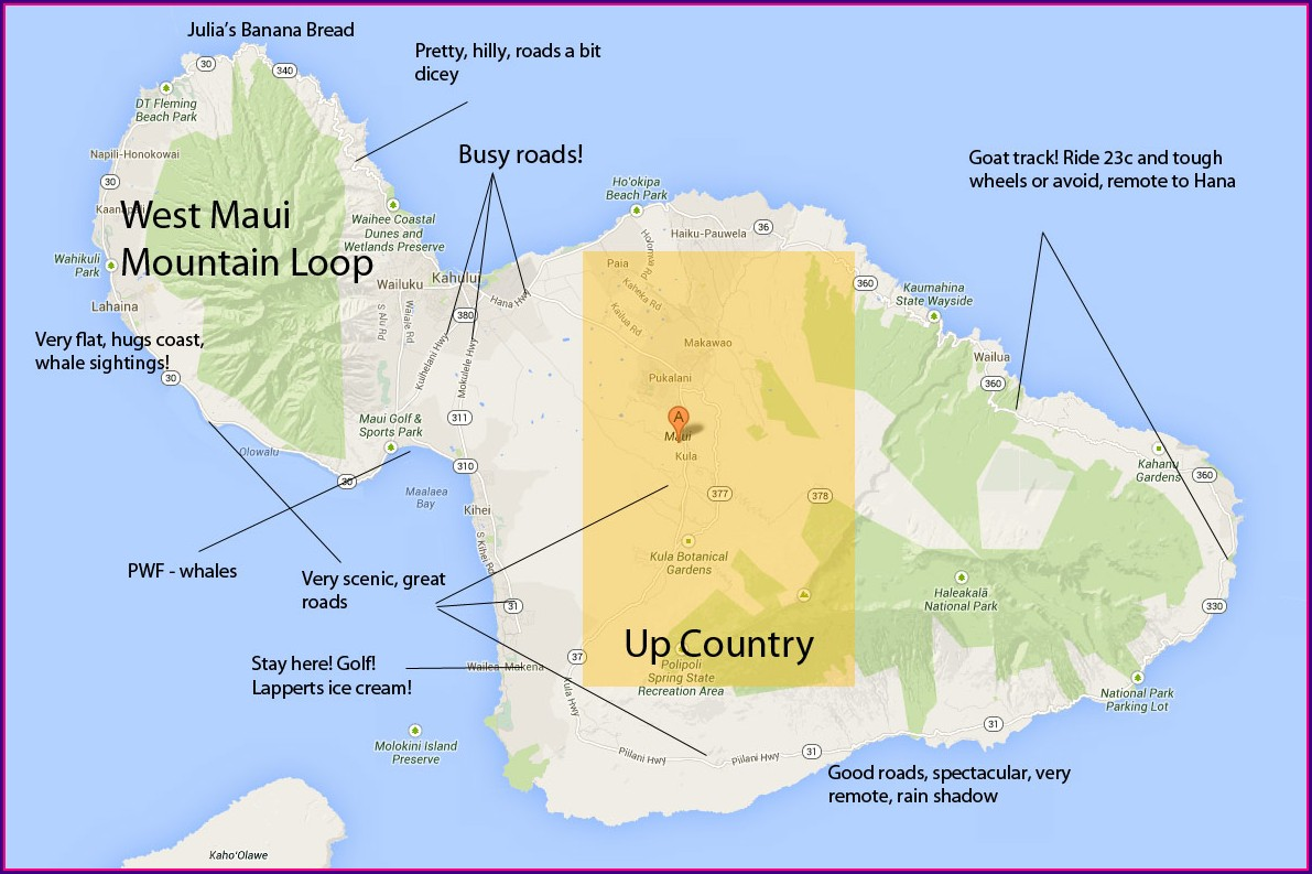 Maui County Cycling Map