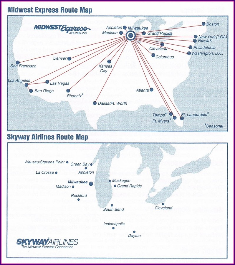 Midwest Airlines Route Map