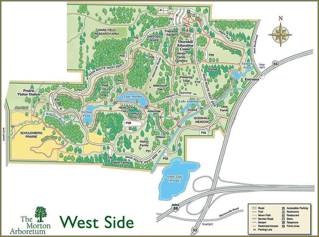 Morton Arboretum Parking Map