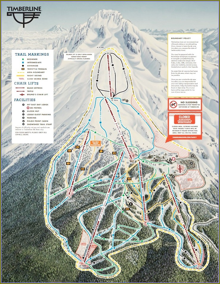 Mount Hood Timberline Trail Map