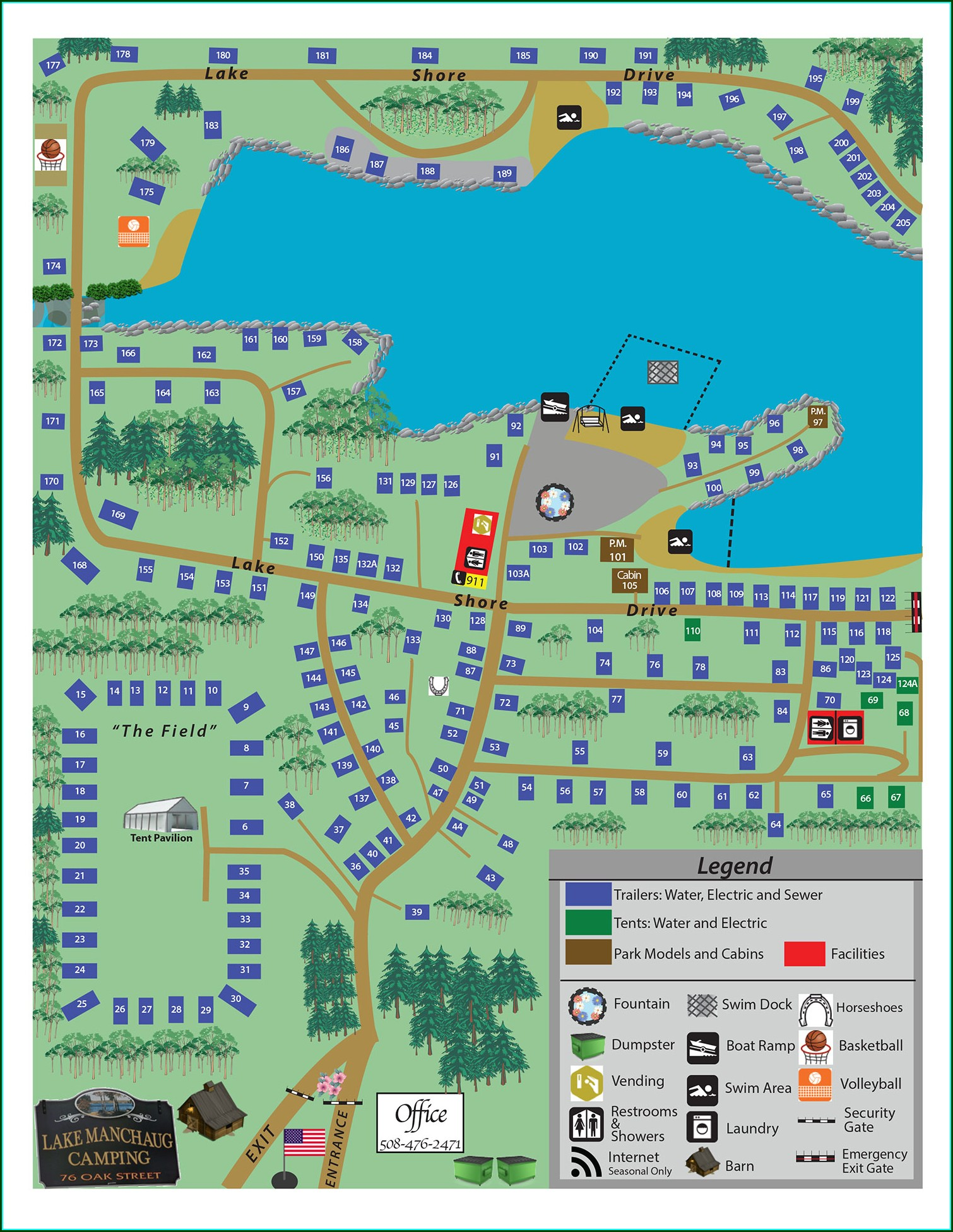 Mystic Koa Campground Map