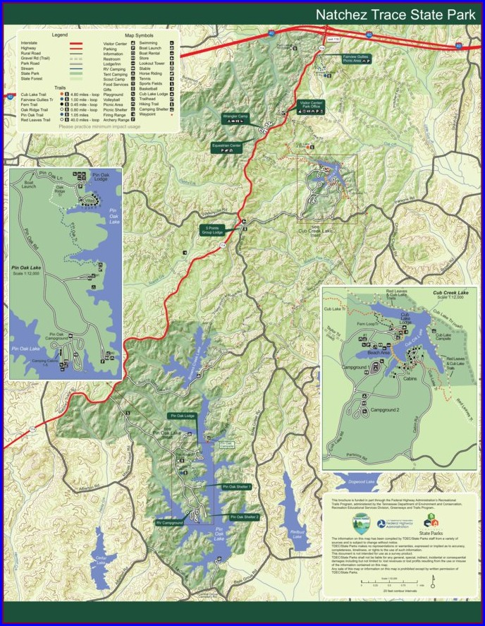 Natchez Trace Hiking Trail Map