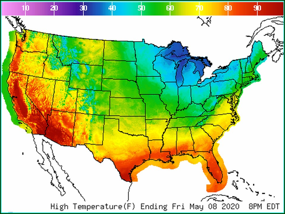 National Weather Temperature Map For Today