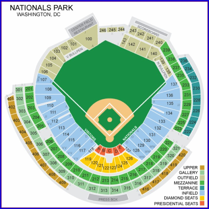 Nationals Ballpark Seating Map