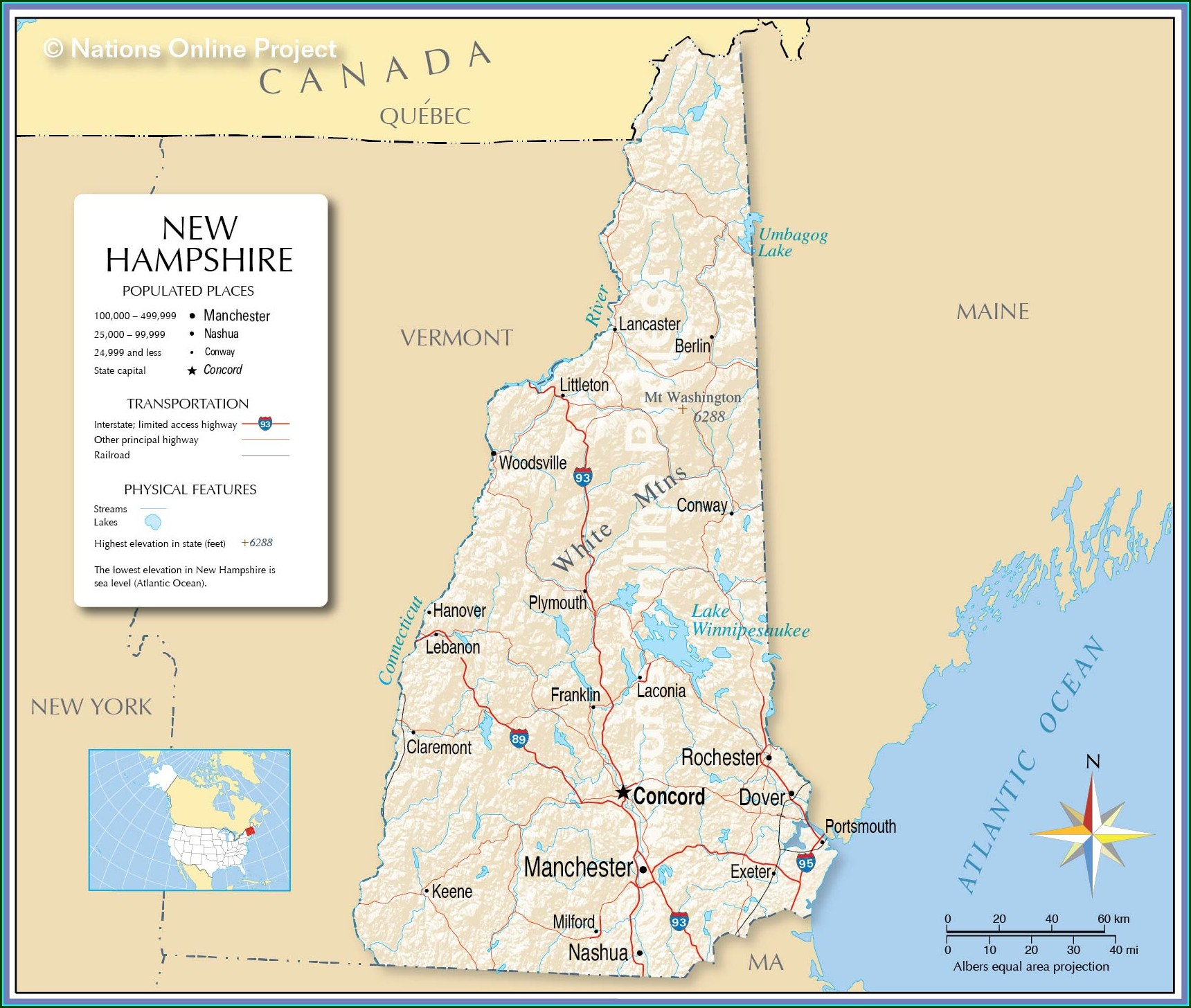 New Hampshire State Campgrounds Map