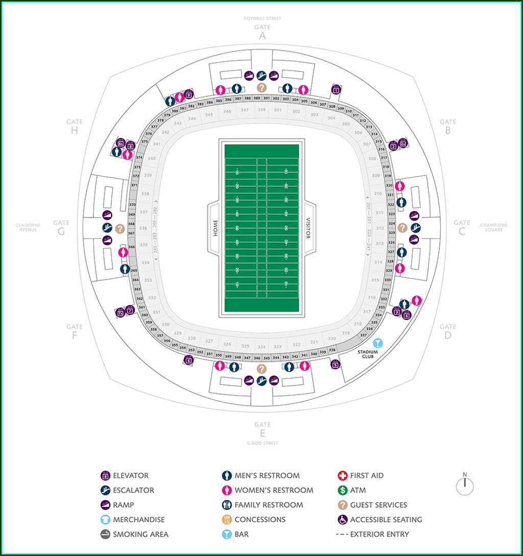New Orleans Superdome Gate Map