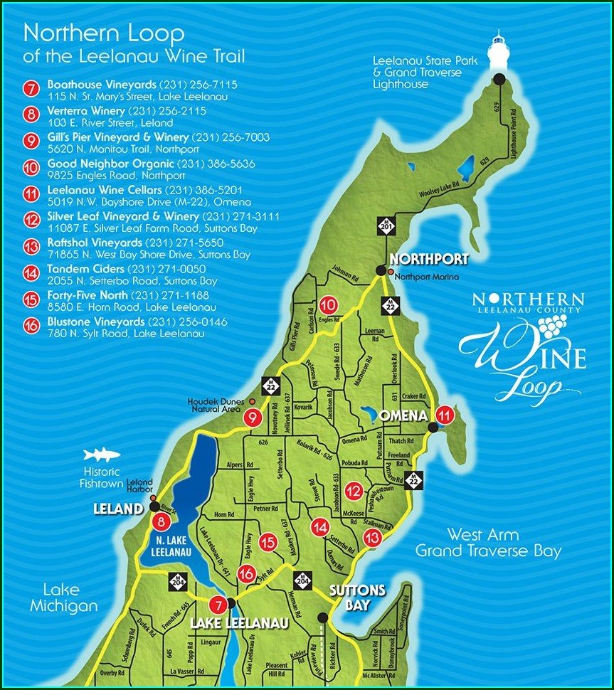 Northern Michigan Wine Trail Map