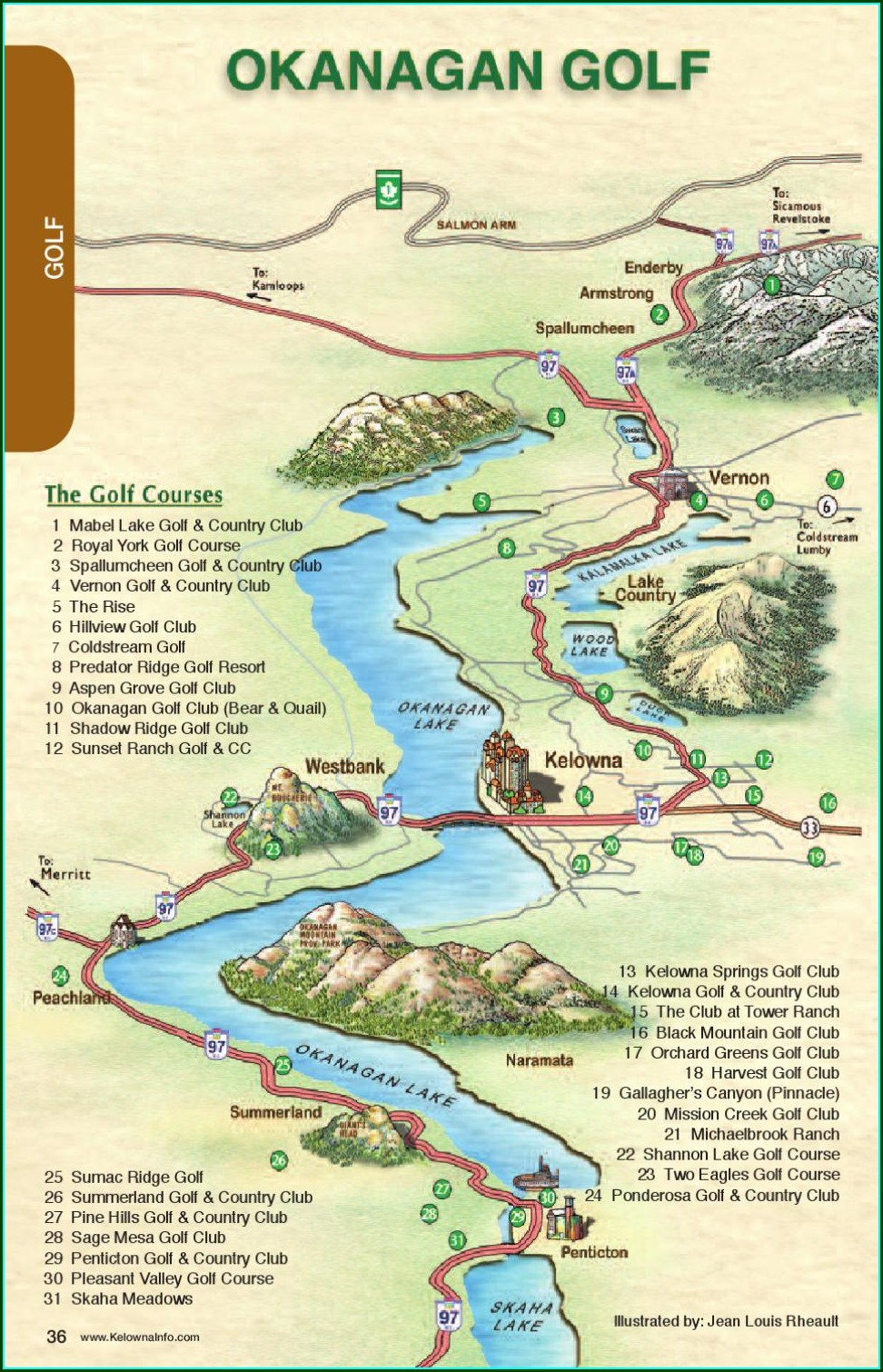 Okanagan Golf Courses Map