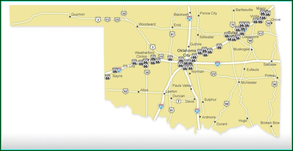 Oklahoma Route 66 Attractions Map