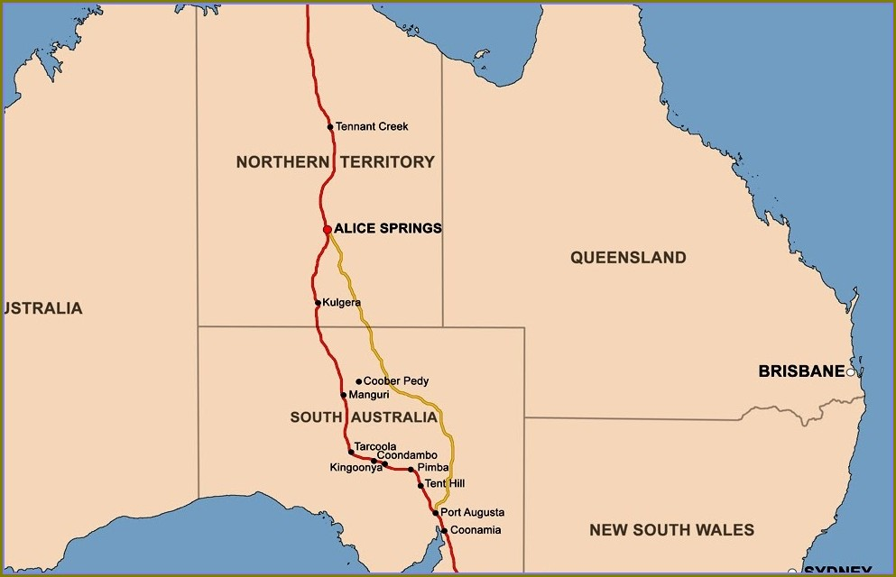 Old Ghan Train Route Map