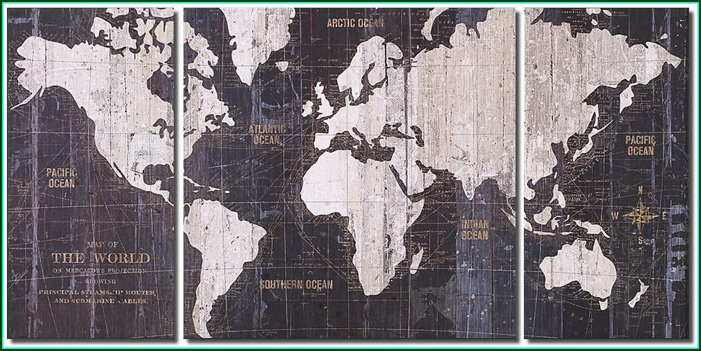 Old World Map Blue Canvas