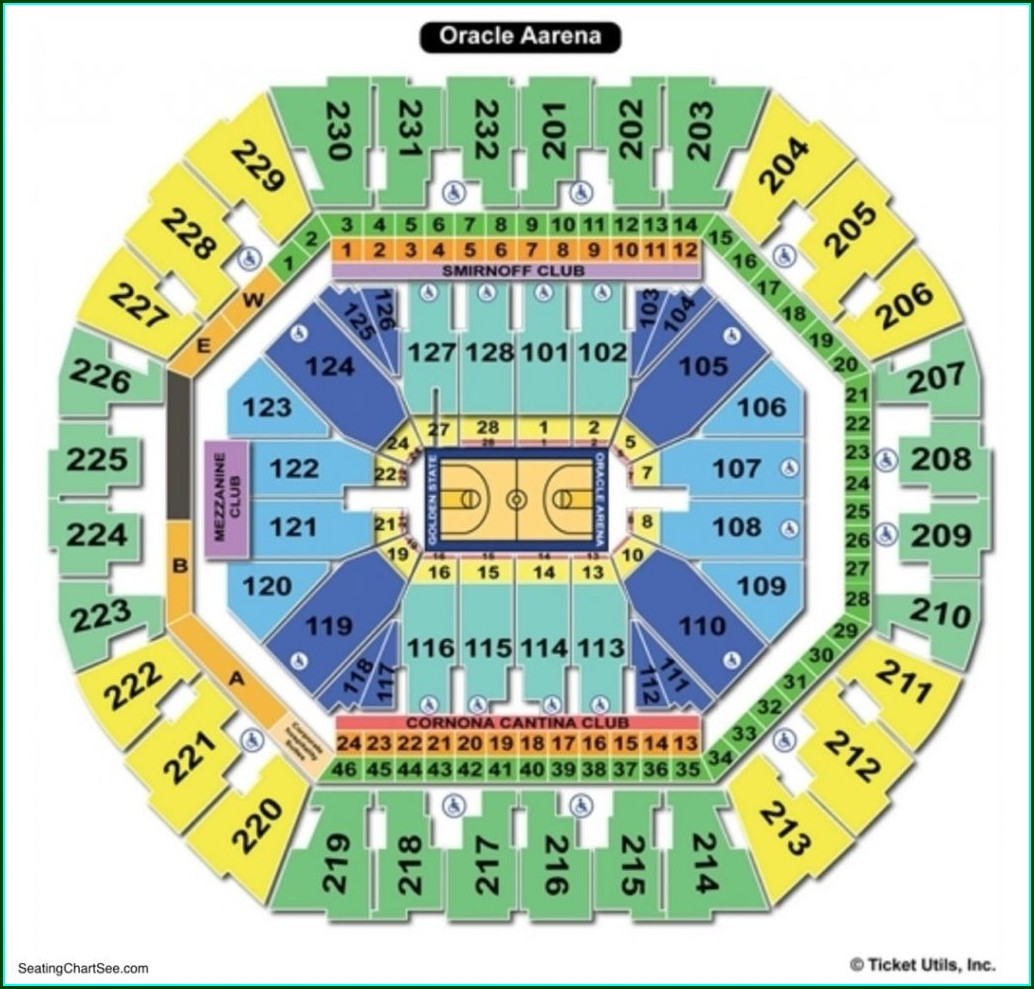 Oracle Arena Concert Map