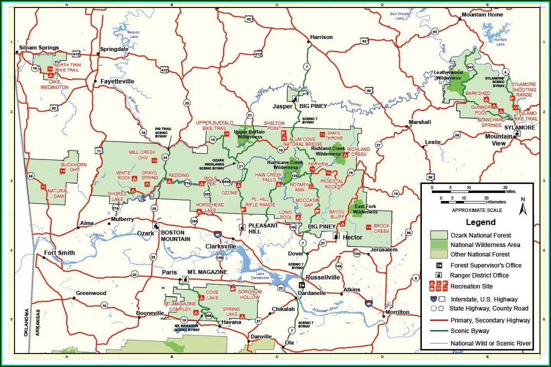 Ozark National Forest Trail Map