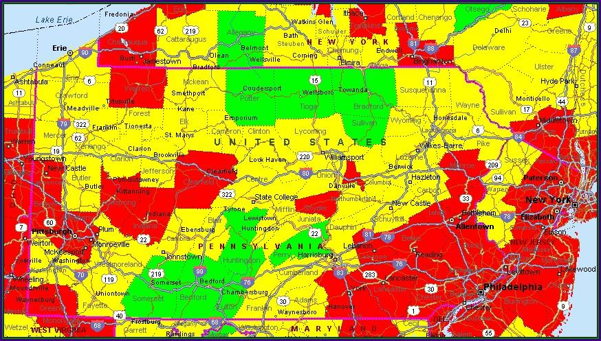 Pennsylvania Air Quality Map