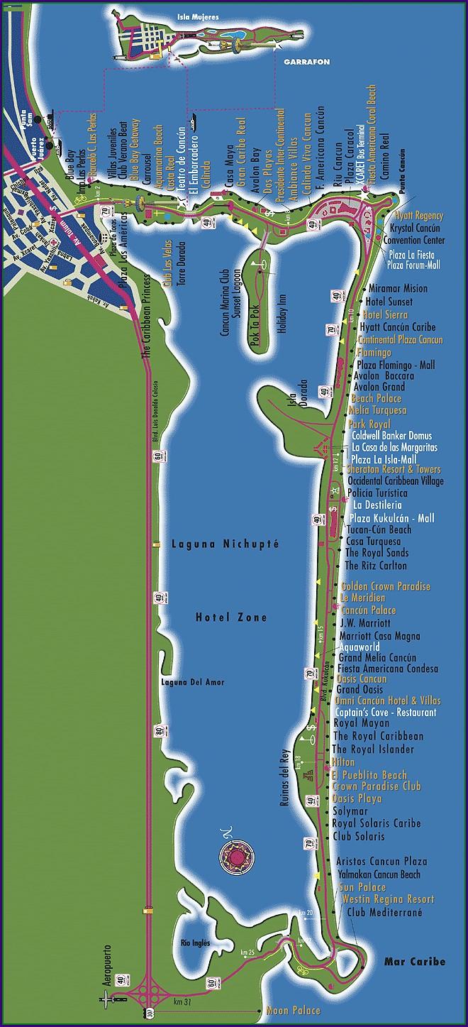 Playas Zona Hotelera Cancun Mapa