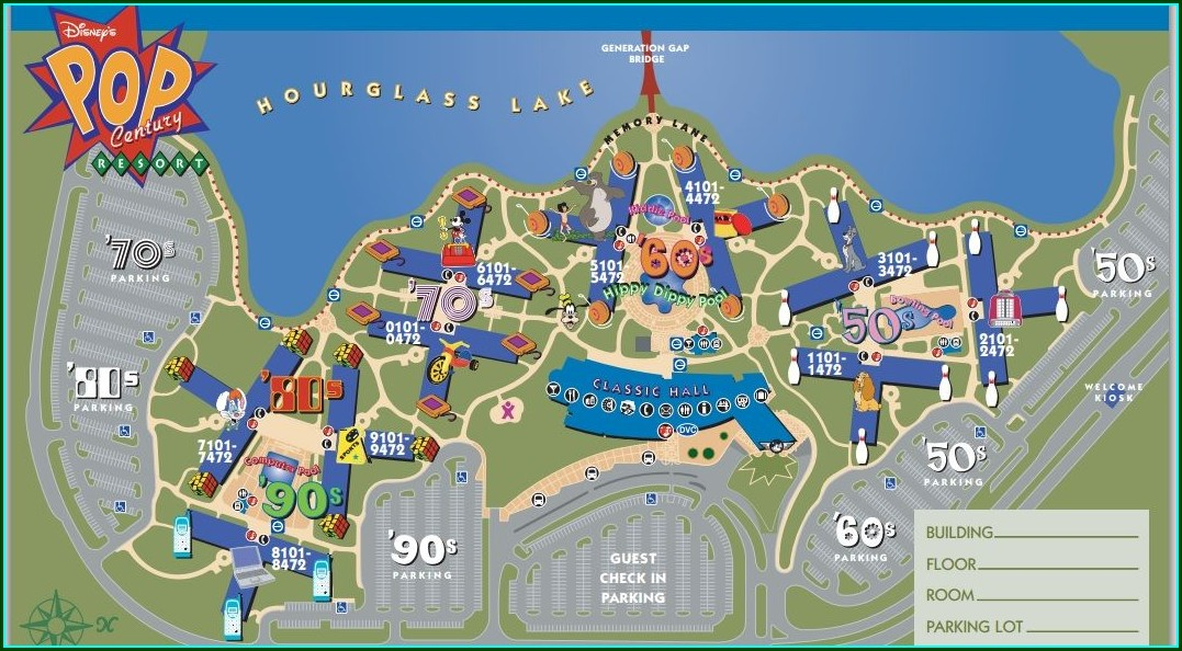 Pop Century Standard Room Map