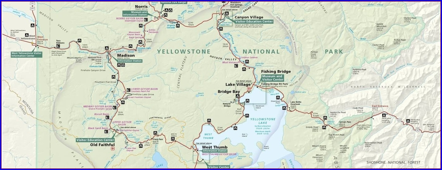 Printable High Resolution Map Of Yellowstone National Park