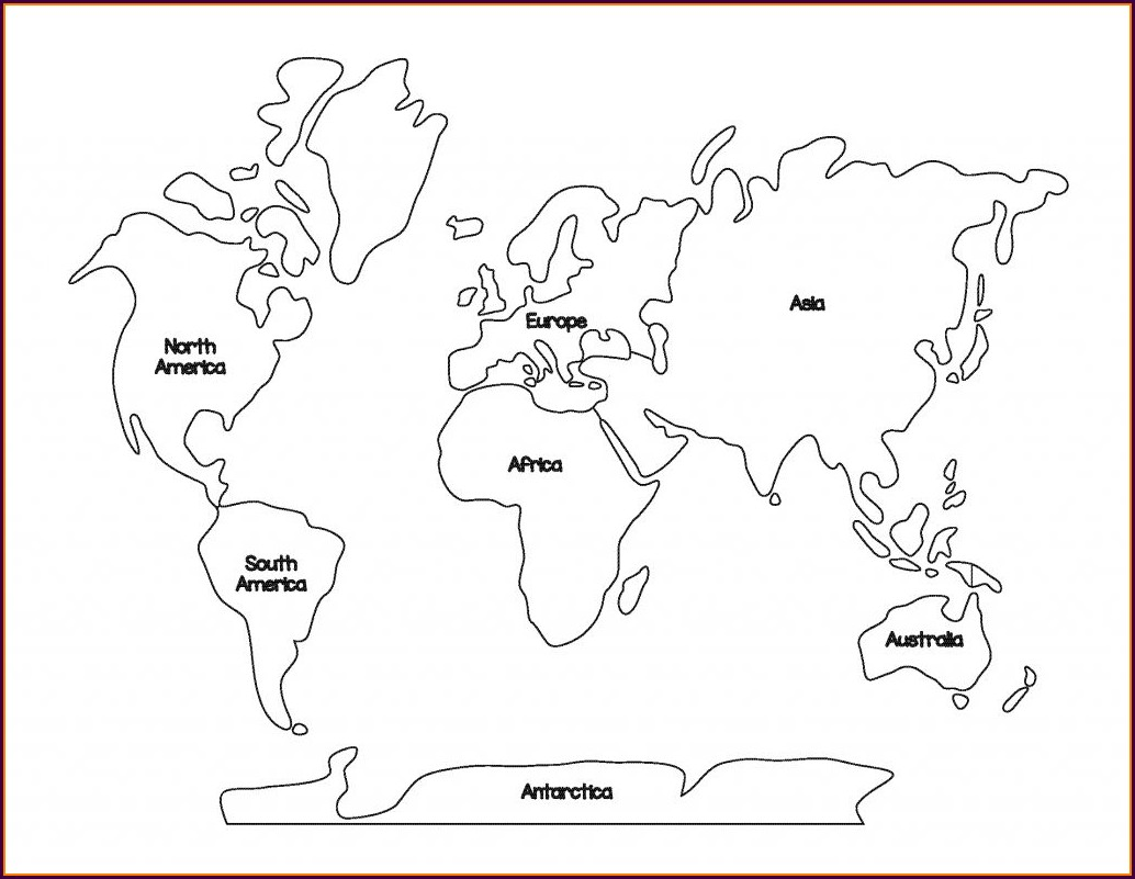 Printable Preschool World Map Coloring Page