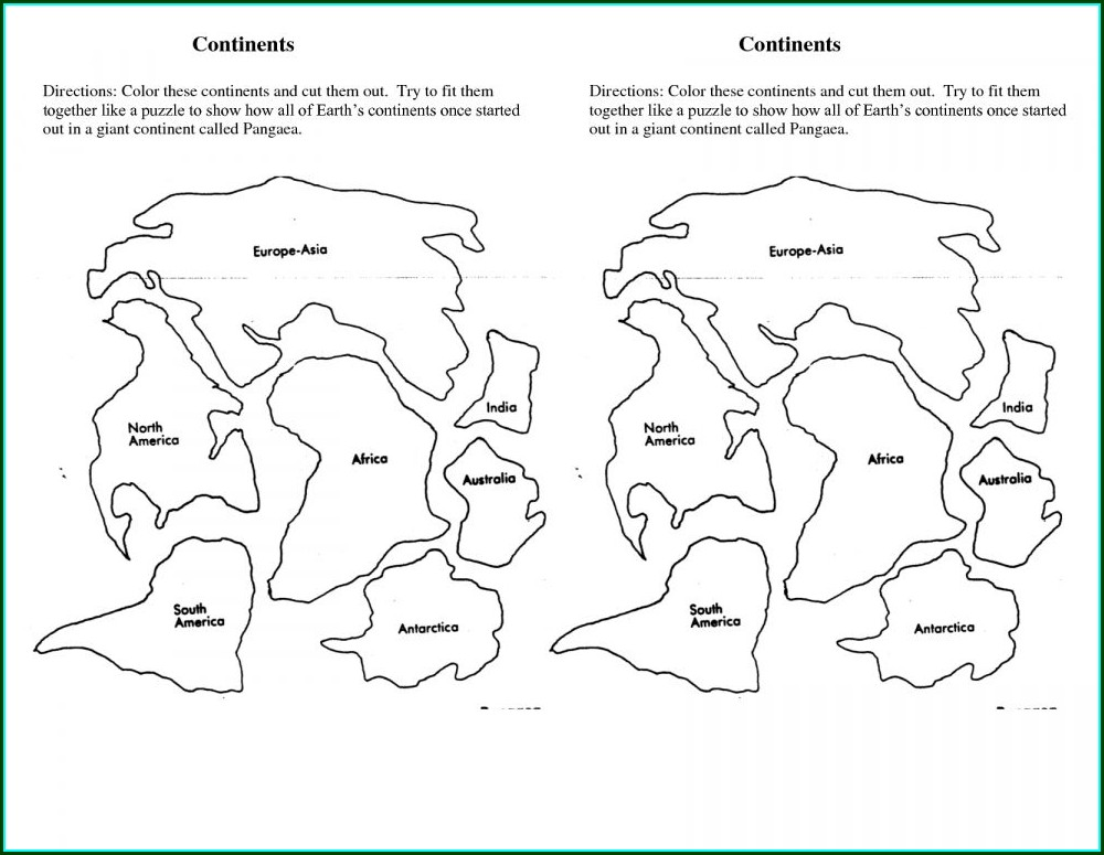 Printable Puzzle Pangea Map