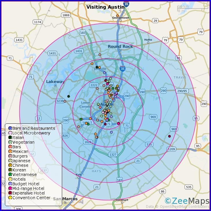 Printable Radius Around Point Map