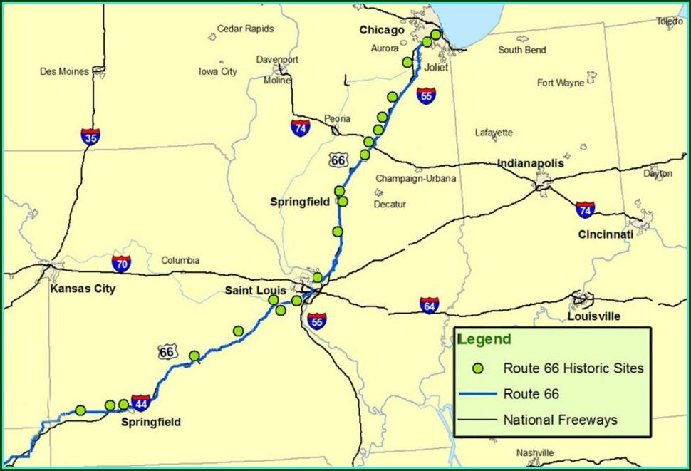 Printable Route 66 Illinois Map